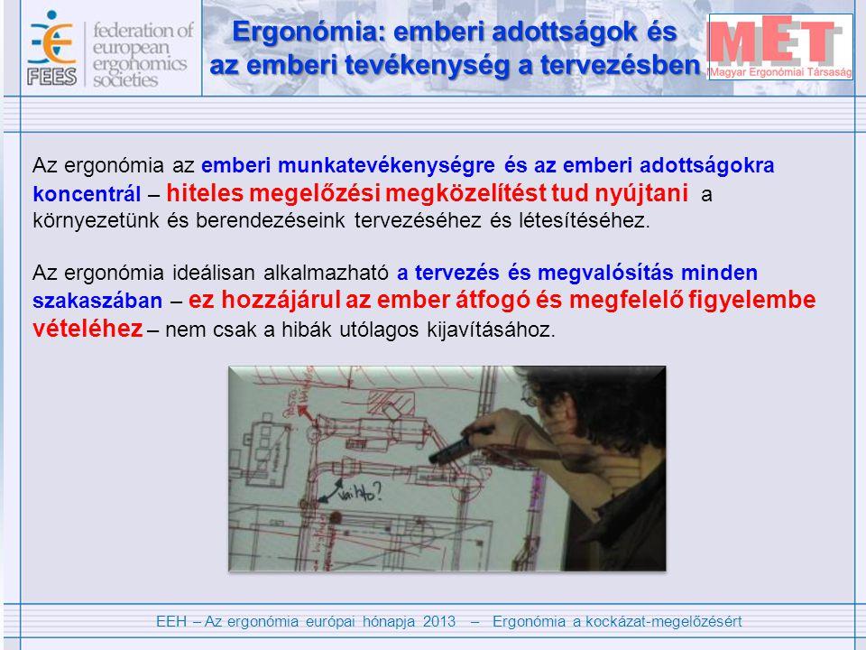EEH – Az ergonómia európai hónapja 2013 – Ergonómia a kockázat-megelőzésért Ergonómia: emberi adottságok és az emberi tevékenység a tervezésben Ergonómia: emberi adottságok és az emberi tevékenység a tervezésben Az ergonómia az emberi munkatevékenységre és az emberi adottságokra koncentrál – hiteles megelőzési megközelítést tud nyújtani a környezetünk és berendezéseink tervezéséhez és létesítéséhez.