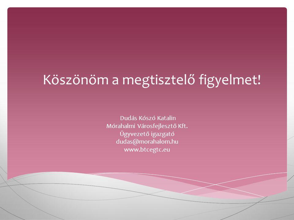Köszönöm a megtisztelő figyelmet. Dudás Kószó Katalin Mórahalmi Városfejlesztő Kft.
