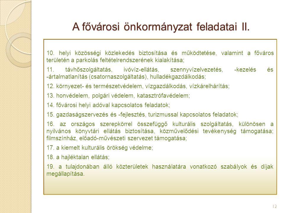 A fővárosi önkormányzat feladatai II. 12 10. helyi közösségi közlekedés biztosítása és működtetése, valamint a főváros területén a parkolás feltételre