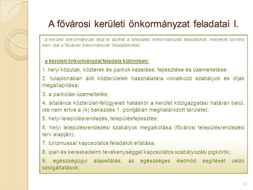 A fővárosi kerületi önkormányzat feladatai I. 13 - a kerületi önkormányzat látja el azokat a települési önkormányzati feladatokat, melyeket törvény ne