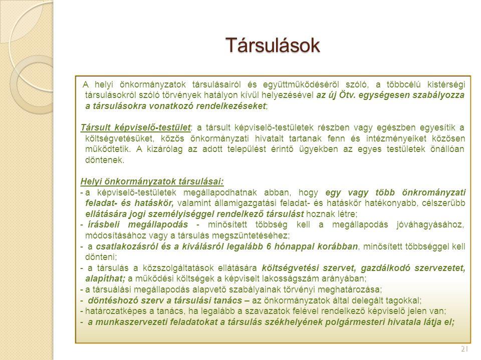 Társulások 21 A helyi önkormányzatok társulásairól és együttműködéséről szóló, valamaint a települési önkormányzatok többcélú kistérségi társulásáról