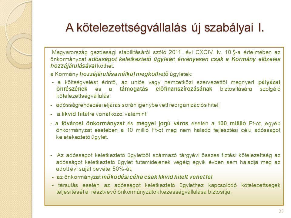 A kötelezettségvállalás új szabályai I. 23 Magyarország gazdasági stabilitásáról szóló 2011. évi CXCIV. tv. 10.§-a értelmében az önkormányzat adósságo