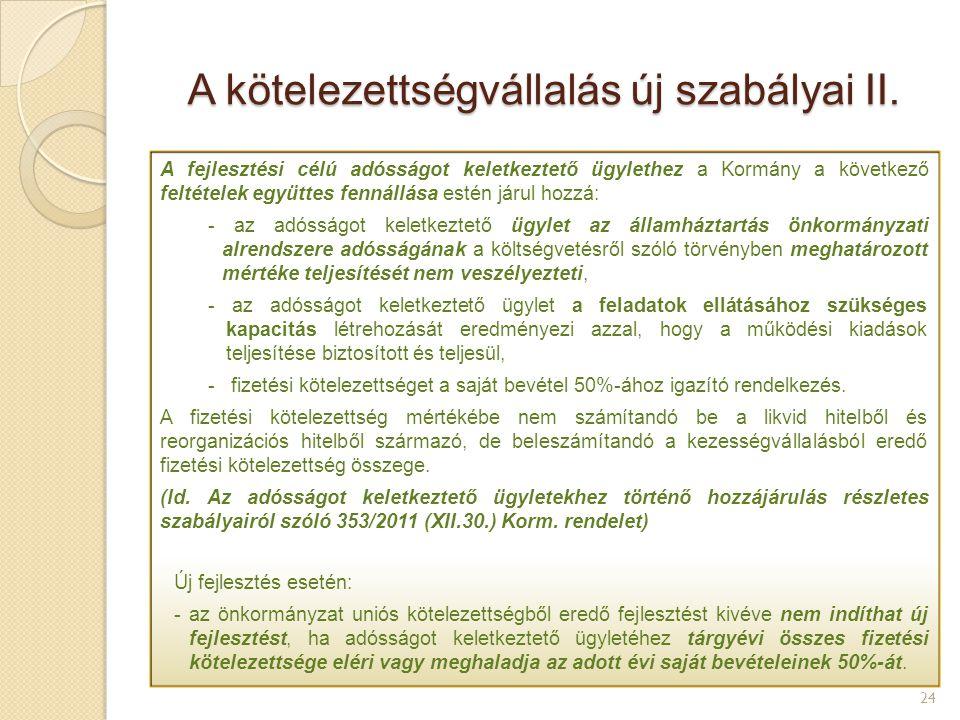 A kötelezettségvállalás új szabályai II. 24 A fejlesztési célú adósságot keletkeztető ügylethez a Kormány a következő feltételek együttes fennállása e