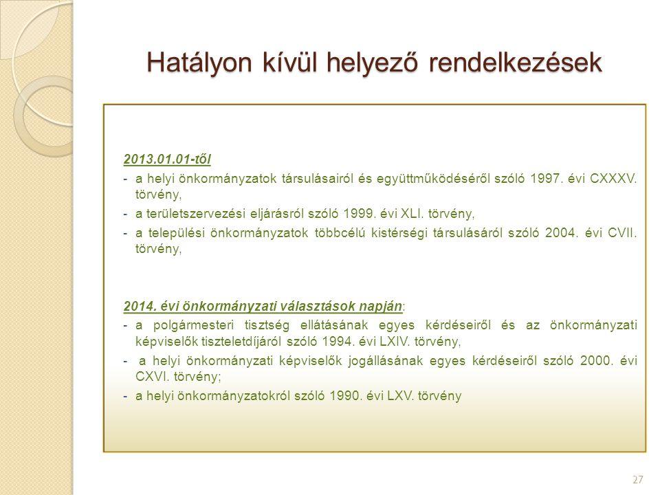 Hatályon kívül helyező rendelkezések 27 2013.01.01-től -a helyi önkormányzatok társulásairól és együttműködéséről szóló 1997. évi CXXXV. törvény, -a t