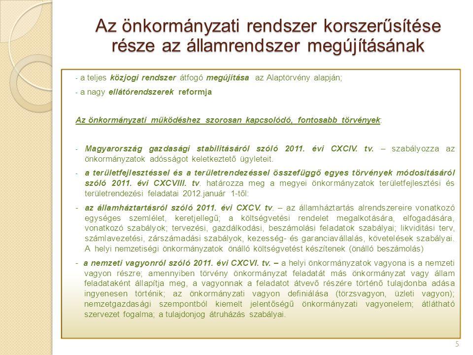 - a teljes közjogi rendszer átfogó megújítása az Alaptörvény alapján; - a nagy ellátórendszerek reformja Az önkormányzati működéshez szorosan kapcsoló