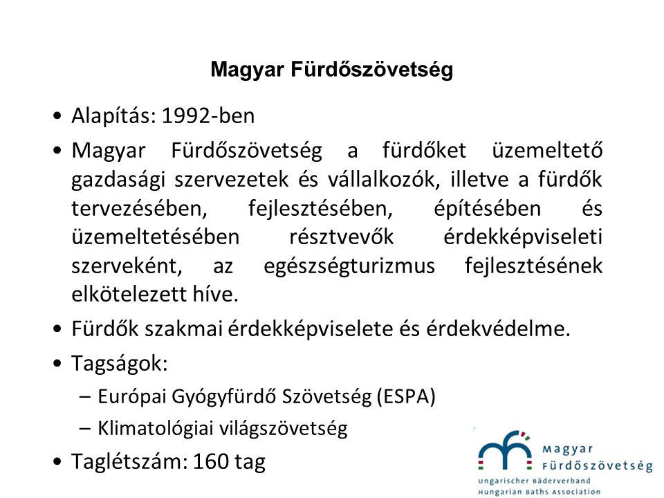 Magyar Fürdőszövetség Alapítás: 1992-ben Magyar Fürdőszövetség a fürdőket üzemeltető gazdasági szervezetek és vállalkozók, illetve a fürdők tervezésében, fejlesztésében, építésében és üzemeltetésében résztvevők érdekképviseleti szerveként, az egészségturizmus fejlesztésének elkötelezett híve.