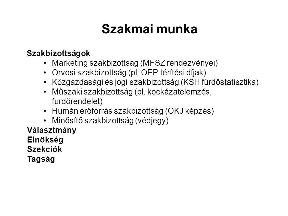 Szakmai munka Szakbizottságok Marketing szakbizottság (MFSZ rendezvényei) Orvosi szakbizottság (pl.