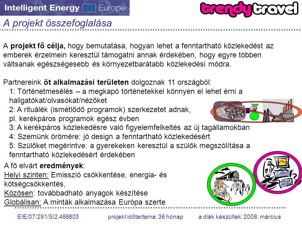 EIE/07/291/SI2.466803 projekt időtartama: 36 hónap a diák készültek: 2008.