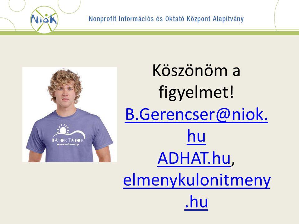 Köszönöm a figyelmet. B.Gerencser@niok. hu ADHAT.hu, elmenykulonitmeny.hu B.Gerencser@niok.