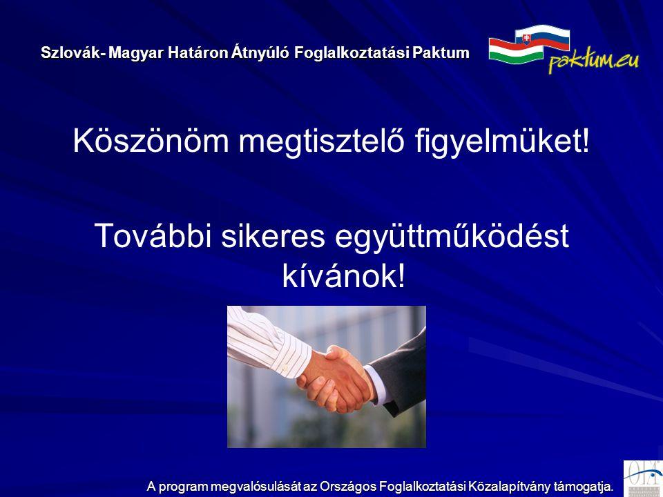 Szlovák- Magyar Határon Átnyúló Foglalkoztatási Paktum A program megvalósulását az Országos Foglalkoztatási Közalapítvány támogatja. Köszönöm megtiszt