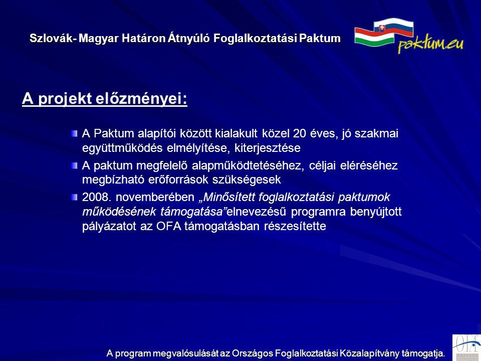 Szlovák- Magyar Határon Átnyúló Foglalkoztatási Paktum A program megvalósulását az Országos Foglalkoztatási Közalapítvány támogatja. A projekt előzmén