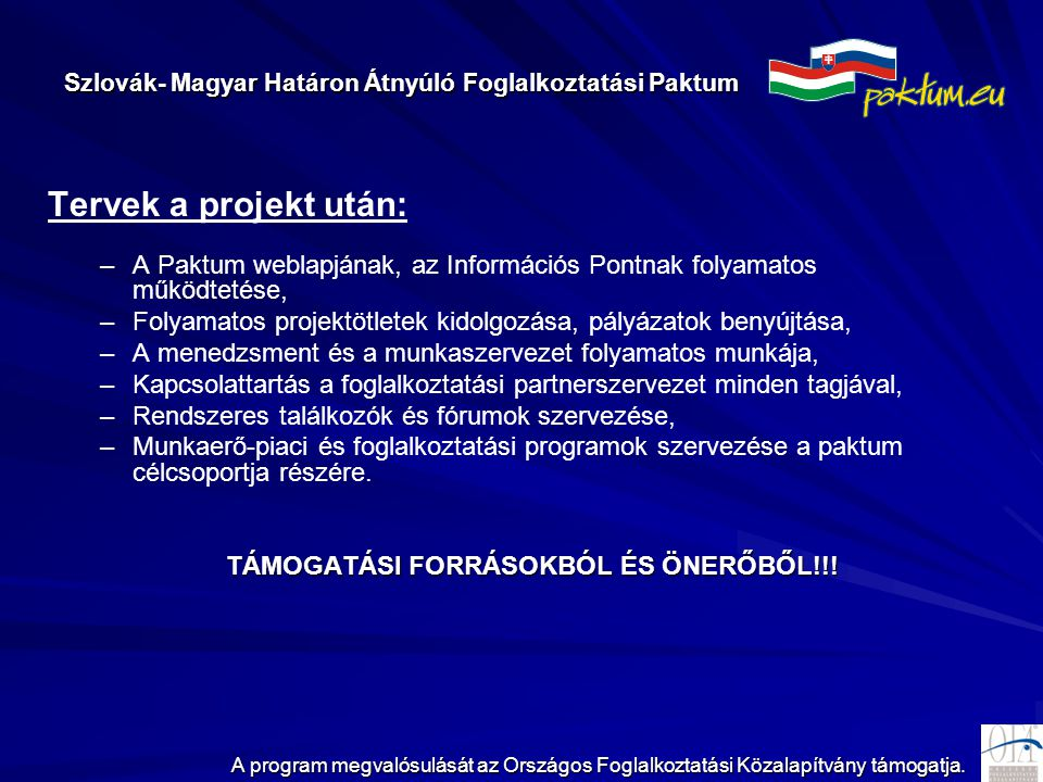 Szlovák- Magyar Határon Átnyúló Foglalkoztatási Paktum A program megvalósulását az Országos Foglalkoztatási Közalapítvány támogatja. Tervek a projekt