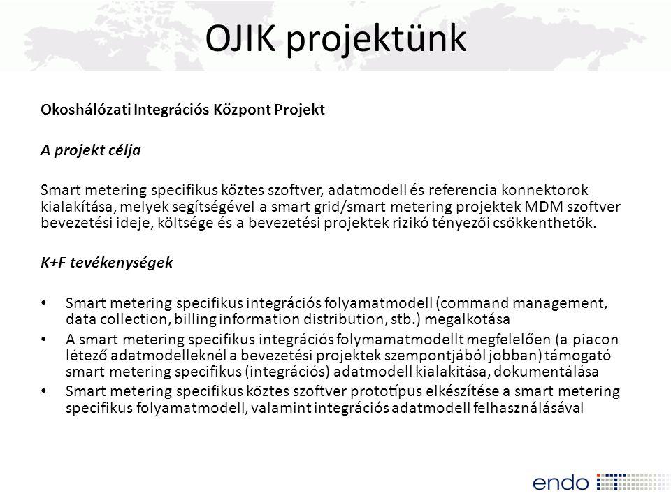 OJIK projektünk Okoshálózati Integrációs Központ Projekt A projekt célja Smart metering specifikus köztes szoftver, adatmodell és referencia k