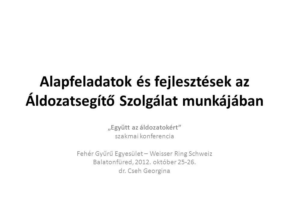 """Alapfeladatok és fejlesztések az Áldozatsegítő Szolgálat munkájában """"Együtt az áldozatokért szakmai konferencia Fehér Gyűrű Egyesület – Weisser Ring Schweiz Balatonfüred, 2012."""