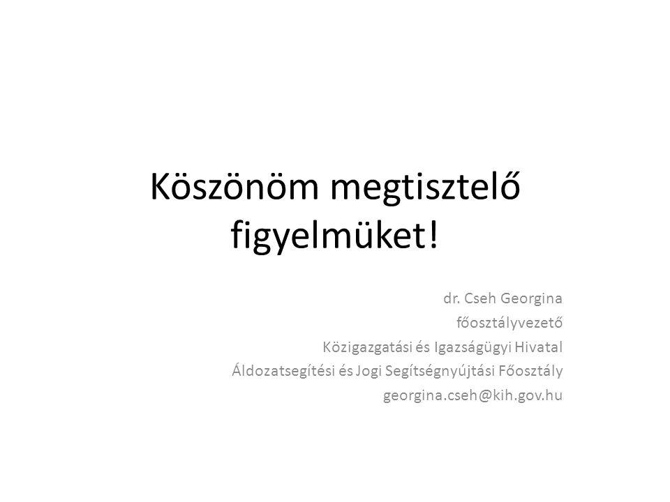 Köszönöm megtisztelő figyelmüket! dr. Cseh Georgina főosztályvezető Közigazgatási és Igazságügyi Hivatal Áldozatsegítési és Jogi Segítségnyújtási Főos