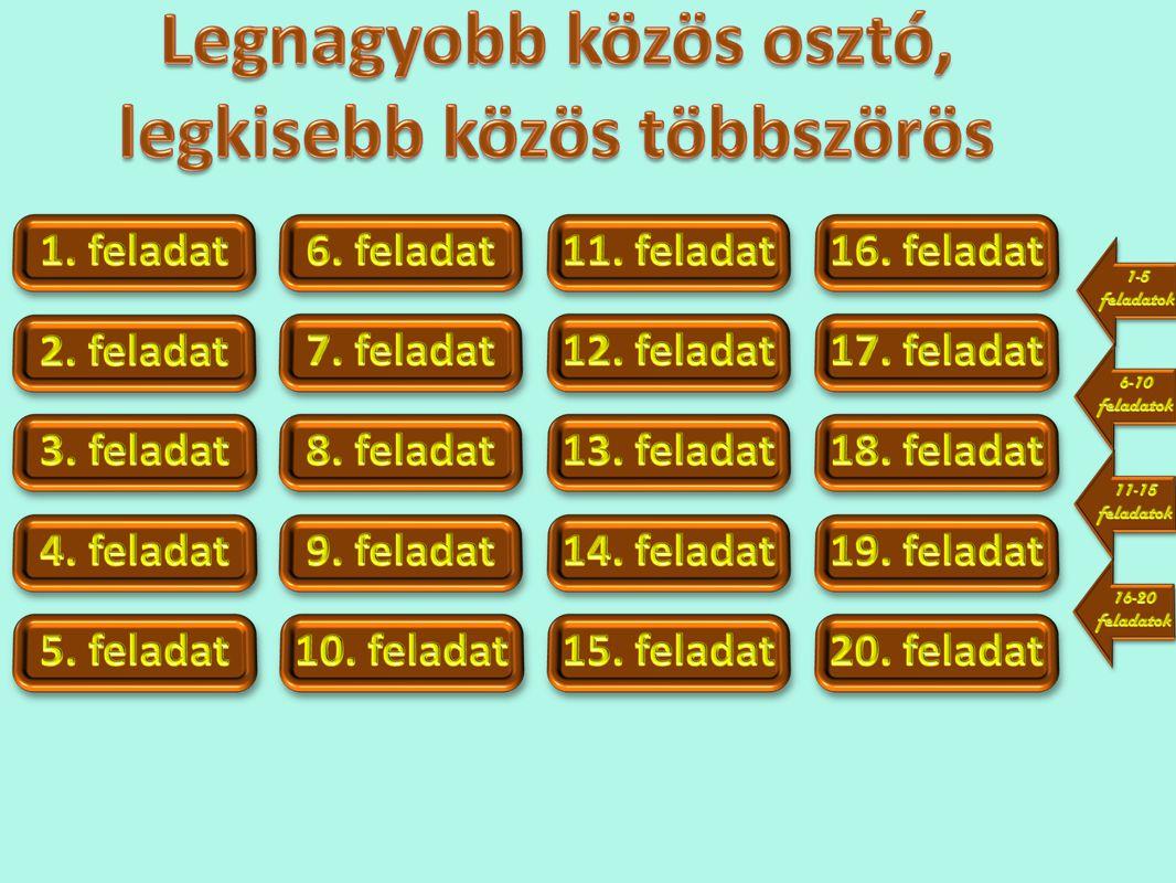 Állapítsd meg az alábbi számok legnagyobb közös osztójának és legkisebb közös többszörösének hatványalakjait.