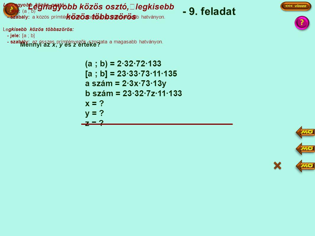 (a ; b) = 2·32·72·133 [a ; b] = 23·33·73·11·135 a szám = 2·3x·73·13y b szám = 23·32·7z·11·133 x = .
