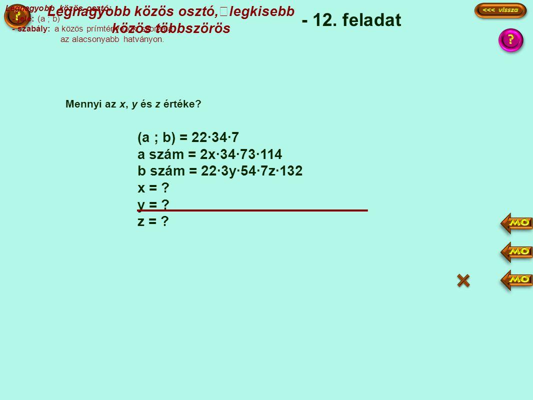 (a ; b) = 22·34·7 a szám = 2x·34·73·114 b szám = 22·3y·54·7z·132 x = .