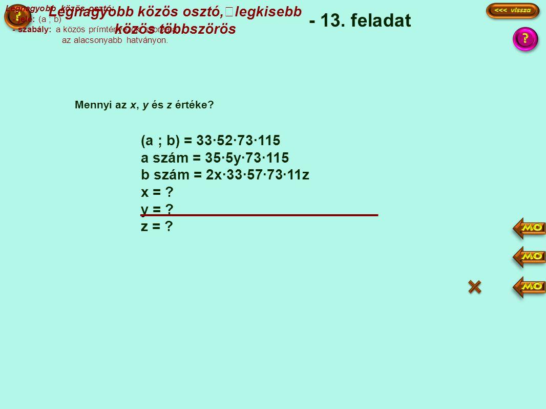 (a ; b) = 33·52·73·115 a szám = 35·5y·73·115 b szám = 2x·33·57·73·11z x = .