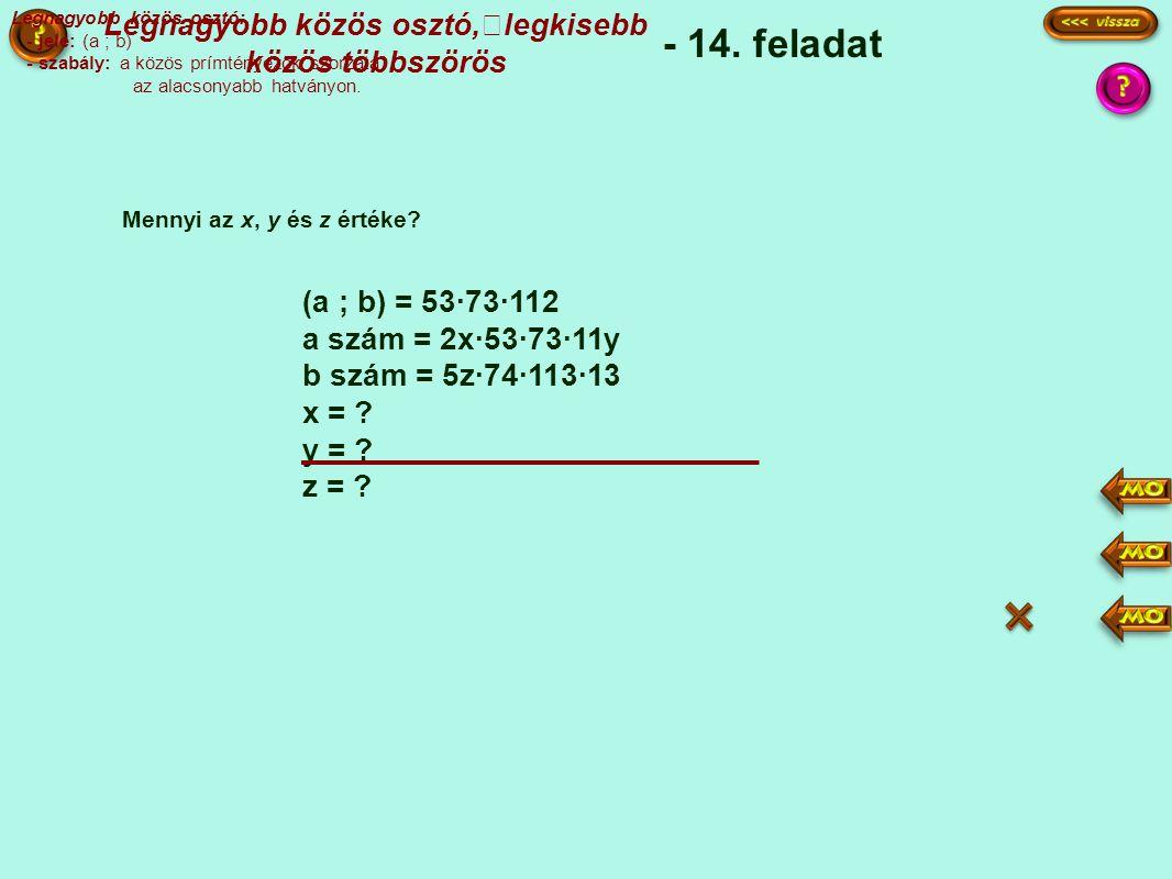 Legnagyobb közös osztó: - jele: (a ; b) - szabály: a közös prímtényezők szorzata az alacsonyabb hatványon.
