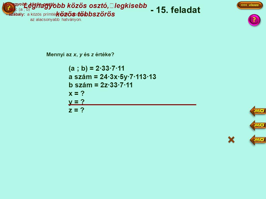 (a ; b) = 2·33·7·11 a szám = 24·3x·5y·7·113·13 b szám = 2z·33·7·11 x = .