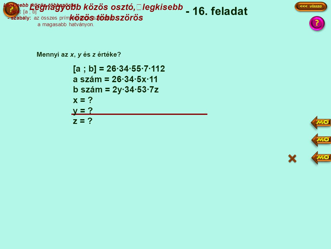 - 16.feladat Mennyi az x, y és z értéke.