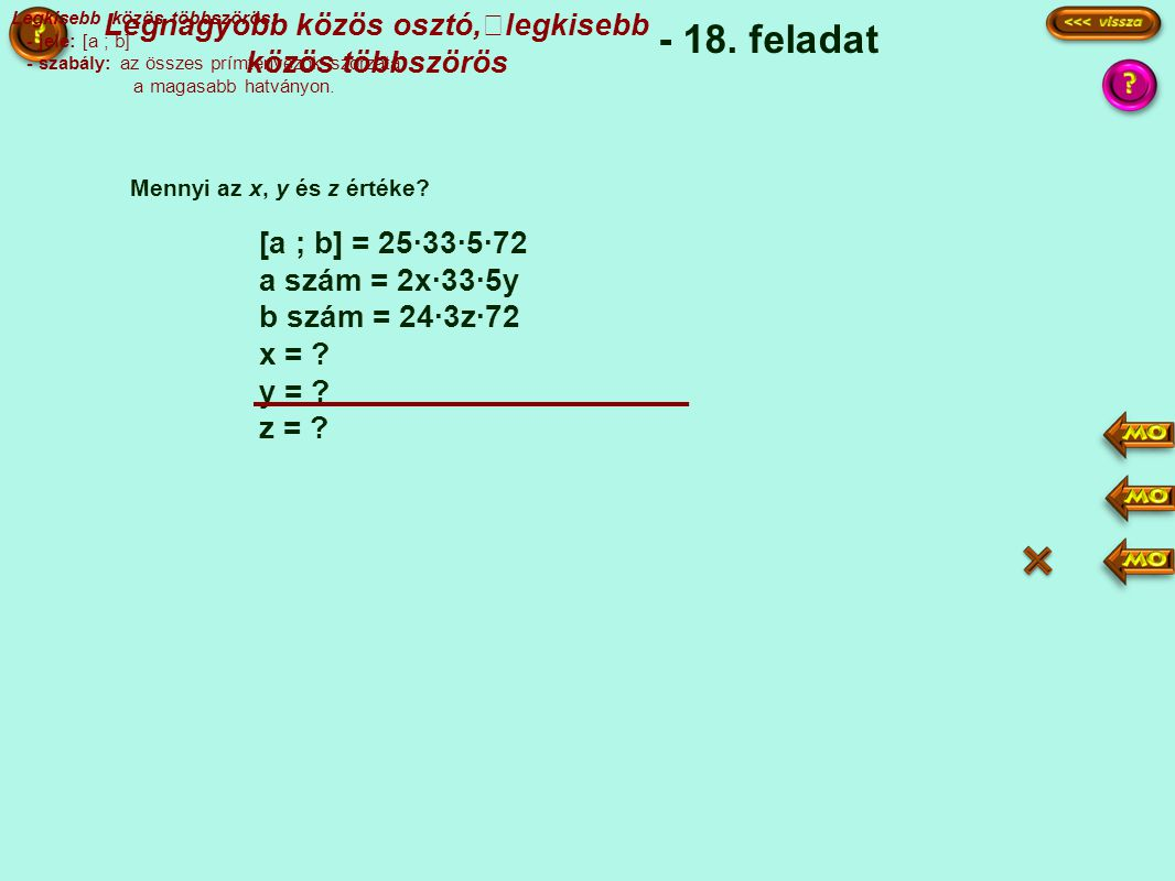 [a ; b] = 25·33·5·72 a szám = 2x·33·5y b szám = 24·3z·72 x = .