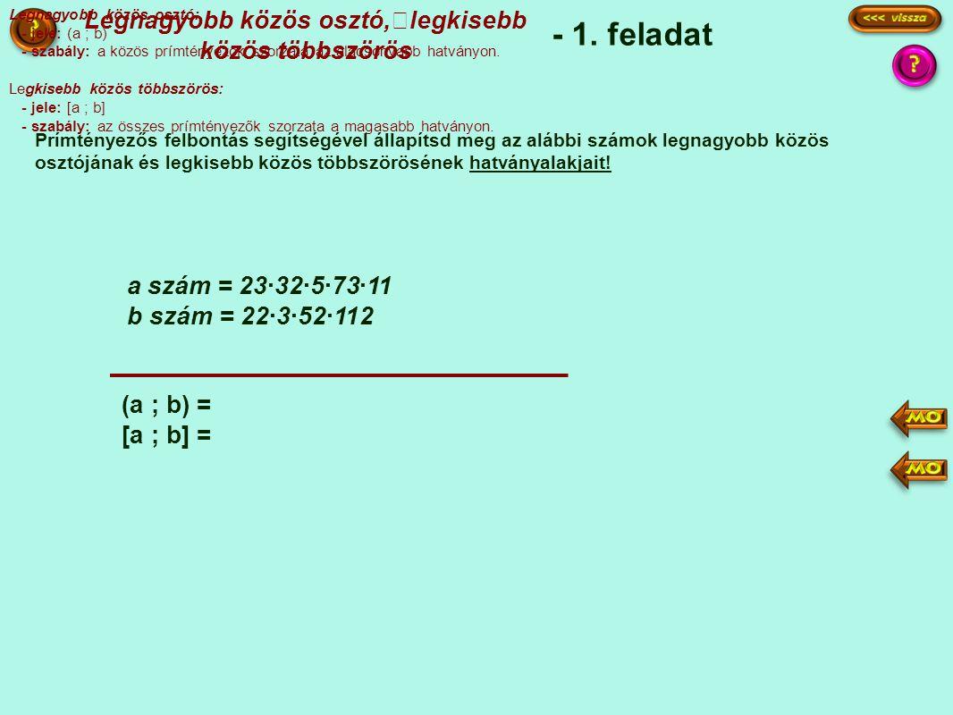 - 1. feladat Prímtényezős felbontás segítségével állapítsd meg az alábbi számok legnagyobb közös osztójának és legkisebb közös többszörösének hatványa
