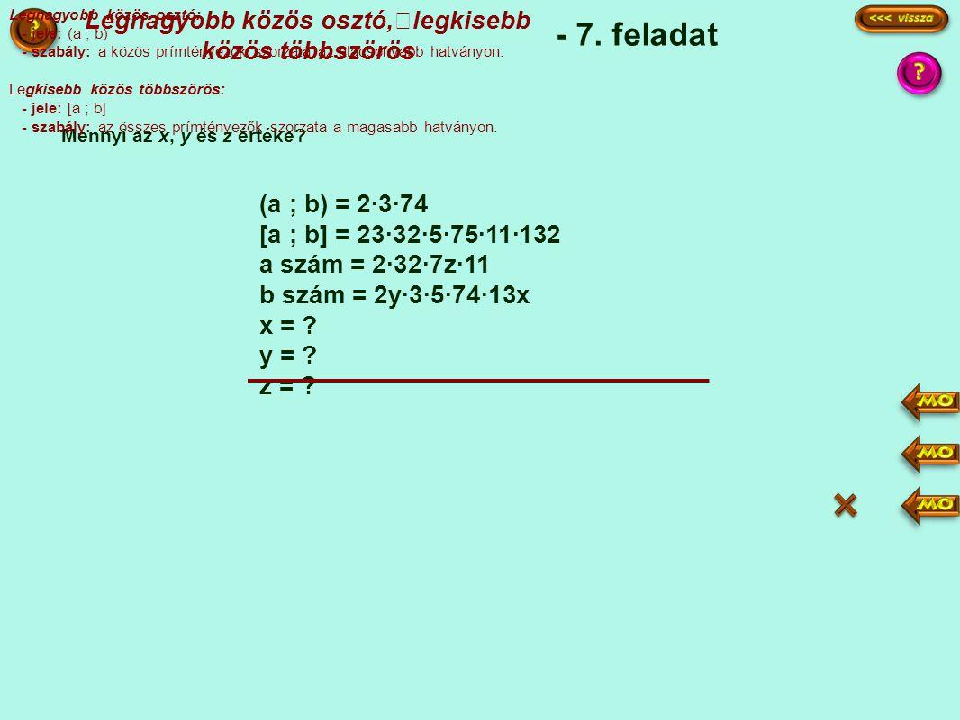 (a ; b) = 2·3·74 [a ; b] = 23·32·5·75·11·132 a szám = 2·32·7z·11 b szám = 2y·3·5·74·13x x = .