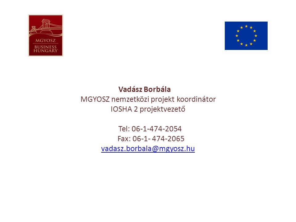 Vadász Borbála MGYOSZ nemzetközi projekt koordinátor IOSHA 2 projektvezető Tel: 06-1-474-2054 Fax: 06-1- 474-2065 vadasz.borbala@mgyosz.hu