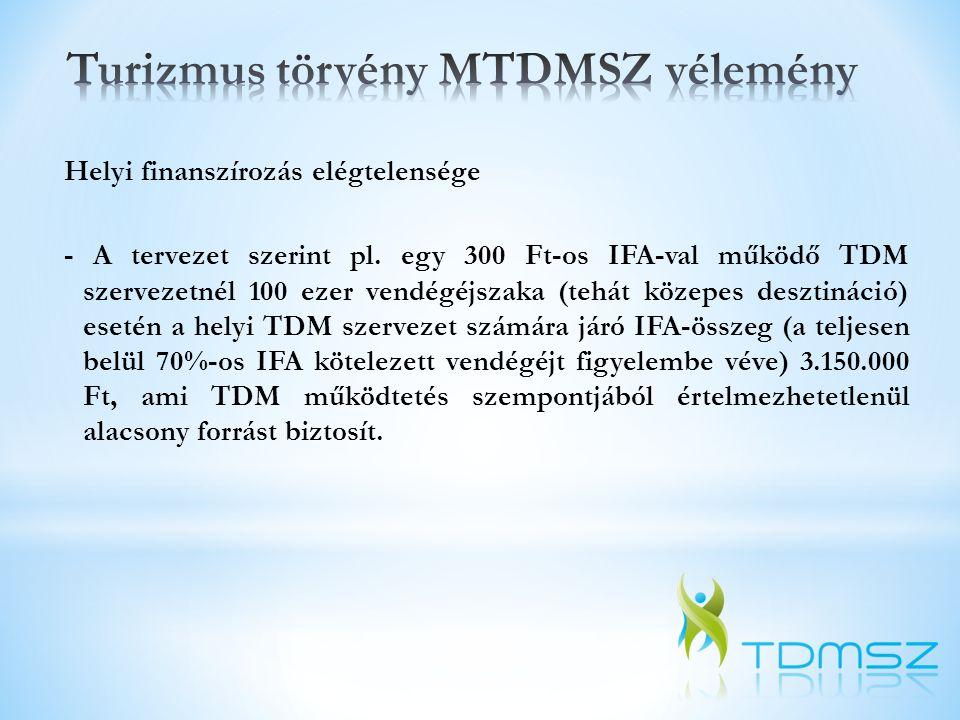 Helyi finanszírozás elégtelensége - A tervezet szerint pl. egy 300 Ft-os IFA-val működő TDM szervezetnél 100 ezer vendégéjszaka (tehát közepes desztin