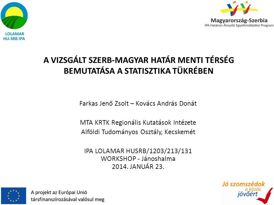 Farkas Jenő Zsolt – Kovács András Donát MTA KRTK Regionális Kutatások Intézete Alföldi Tudományos Osztály, Kecskemét IPA LOLAMAR HUSRB/1203/213/131 WORKSHOP - Jánoshalma 2014.