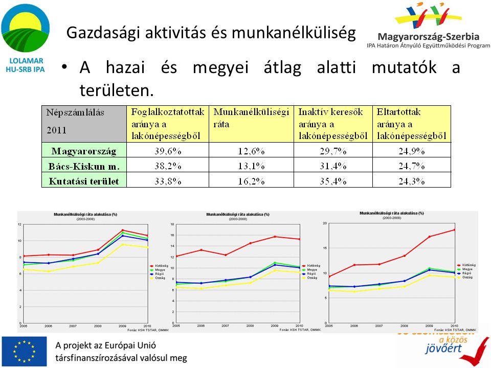 Gazdasági aktivitás és munkanélküliség A hazai és megyei átlag alatti mutatók a területen.
