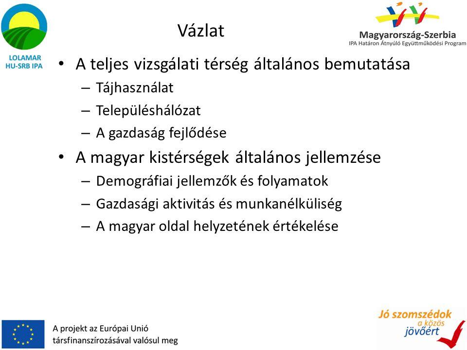 Vázlat A teljes vizsgálati térség általános bemutatása – Tájhasználat – Településhálózat – A gazdaság fejlődése A magyar kistérségek általános jellemzése – Demográfiai jellemzők és folyamatok – Gazdasági aktivitás és munkanélküliség – A magyar oldal helyzetének értékelése