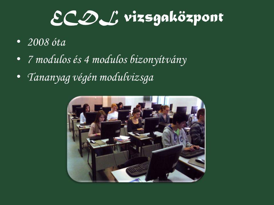 ECDL vizsgaközpont 2008 óta 7 modulos és 4 modulos bizonyítvány Tananyag végén modulvizsga