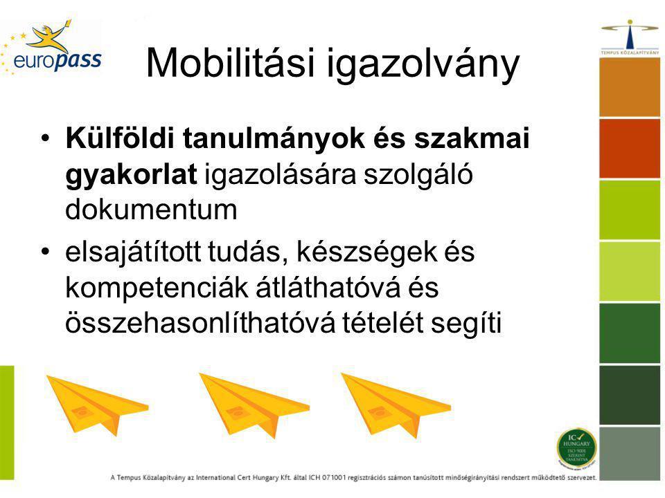 Mobilitási igazolvány Külföldi tanulmányok és szakmai gyakorlat igazolására szolgáló dokumentum elsajátított tudás, készségek és kompetenciák átláthatóvá és összehasonlíthatóvá tételét segíti