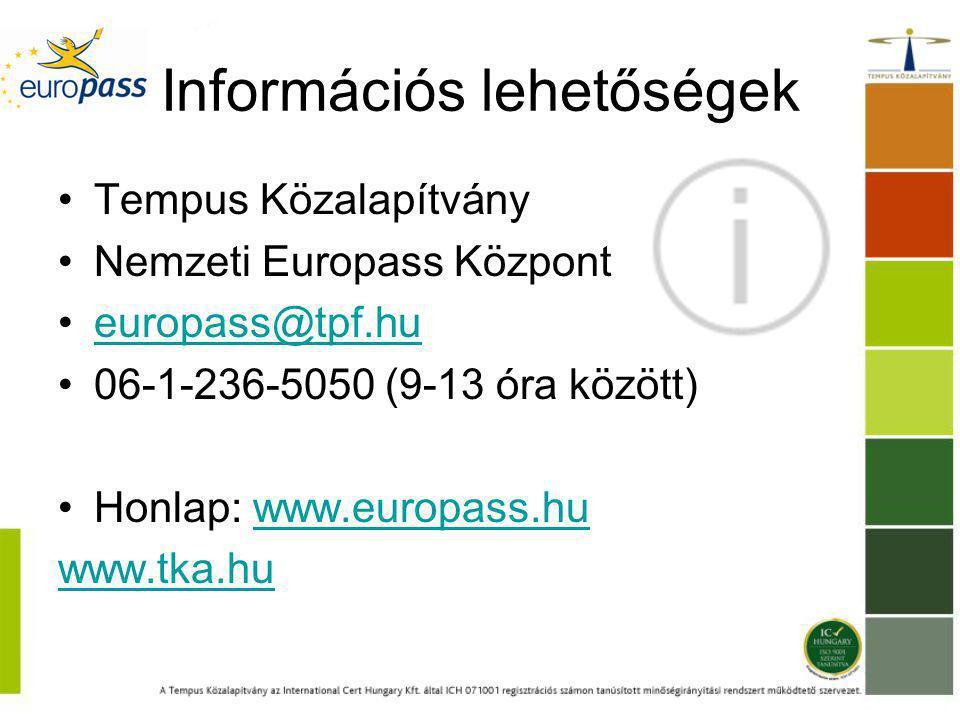 Információs lehetőségek Tempus Közalapítvány Nemzeti Europass Központ europass@tpf.hu 06-1-236-5050 (9-13 óra között) Honlap: www.europass.huwww.europass.hu www.tka.hu