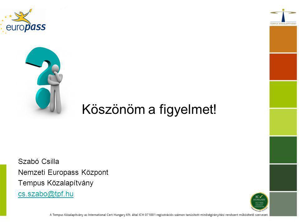 Köszönöm a figyelmet! Szabó Csilla Nemzeti Europass Központ Tempus Közalapítvány cs.szabo@tpf.hu