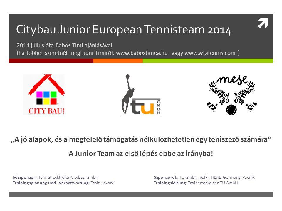  Citybau Junior European Tennisteam 2014 2014 július óta Babos Timi ajánlásával (ha többet szeretnél megtudni Timiről: www.babostimea.hu vagy www.wta