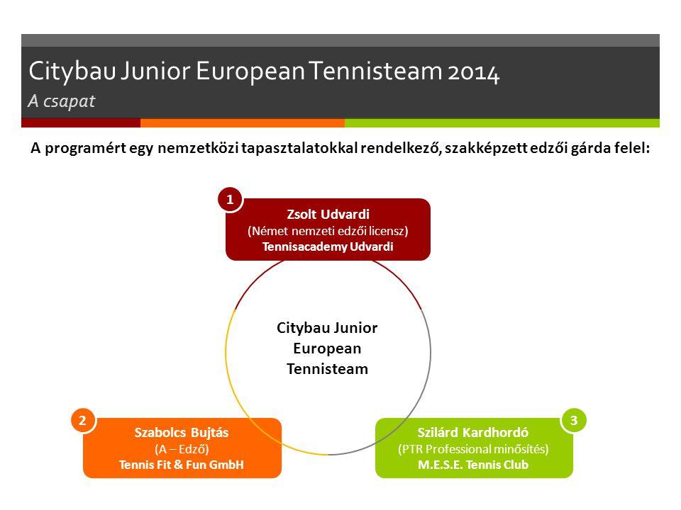 Szabolcs Bujtás (A – Edző) Tennis Fit & Fun GmbH Szilárd Kardhordó (PTR Professional minősítés) M.E.S.E. Tennis Club 23 Zsolt Udvardi (Német nemzeti e