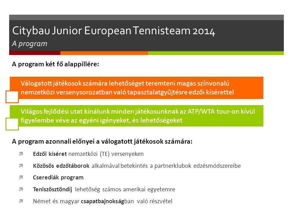 Citybau Junior European Tennisteam 2014 A program A program két fő alappillére: Válogatott játékosok számára lehetőséget teremteni magas színvonalú ne