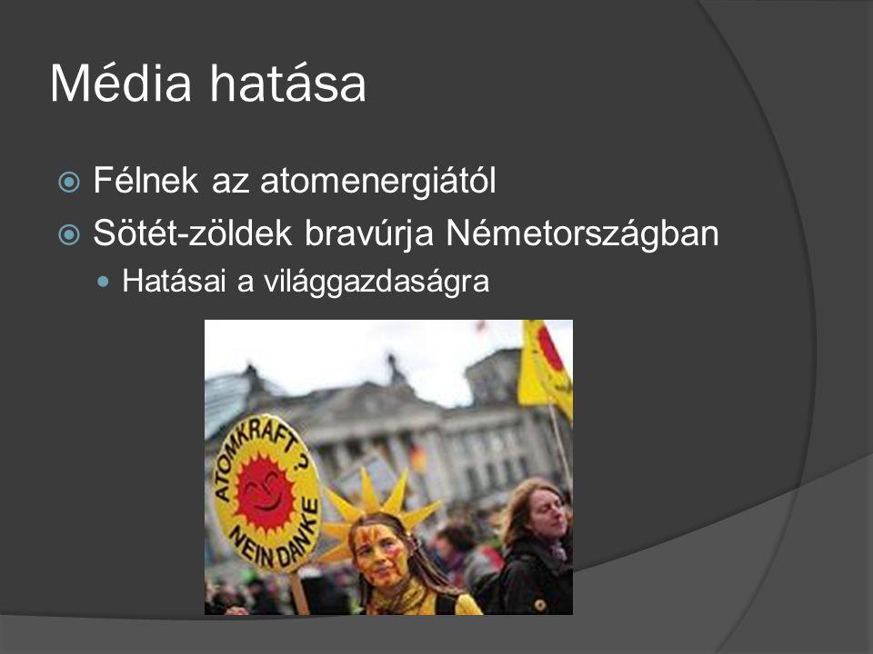 Média hatása  Félnek az atomenergiától  Sötét-zöldek bravúrja Németországban Hatásai a világgazdaságra