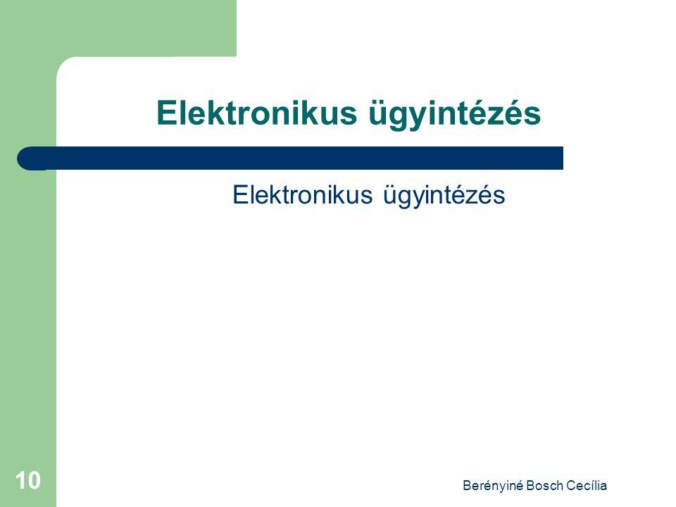 Berényiné Bosch Cecília 10 Elektronikus ügyintézés