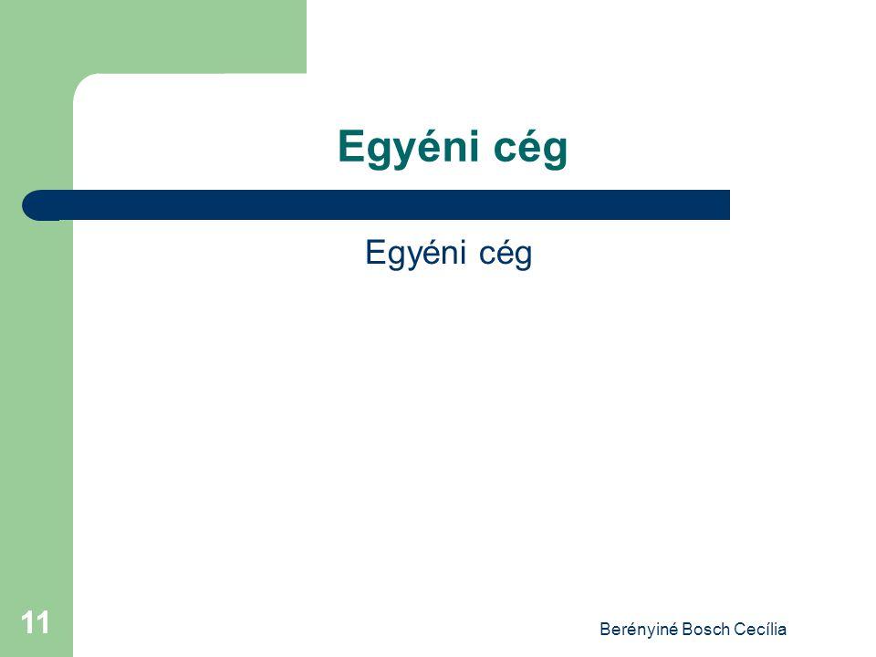 Berényiné Bosch Cecília 11 Egyéni cég