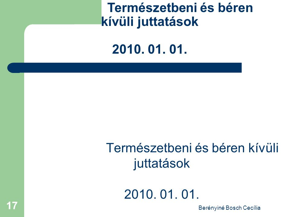 Berényiné Bosch Cecília 17 Természetbeni és béren kívüli juttatások 2010. 01. 01.