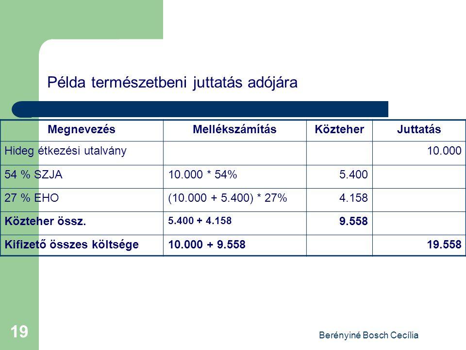 Berényiné Bosch Cecília 19 Példa természetbeni juttatás adójára MegnevezésMellékszámításKözteherJuttatás Hideg étkezési utalvány10.000 54 % SZJA10.000 * 54%5.400 27 % EHO(10.000 + 5.400) * 27%4.158 Közteher össz.