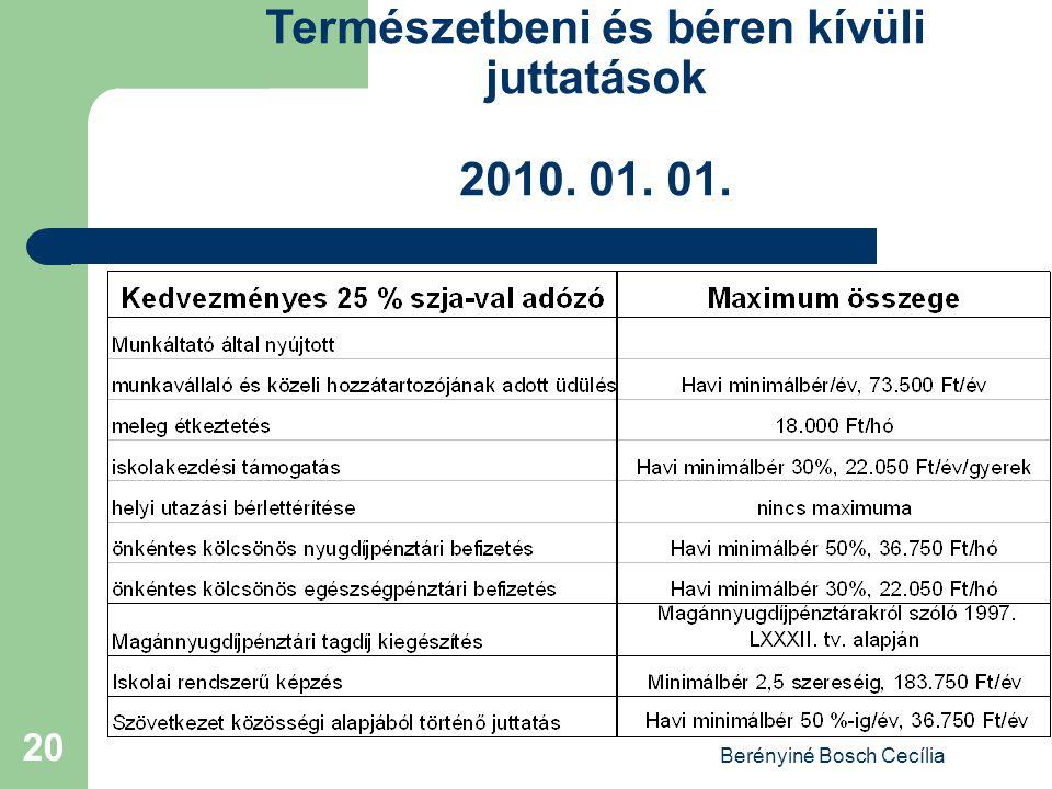 Berényiné Bosch Cecília 20 Természetbeni és béren kívüli juttatások 2010. 01. 01.
