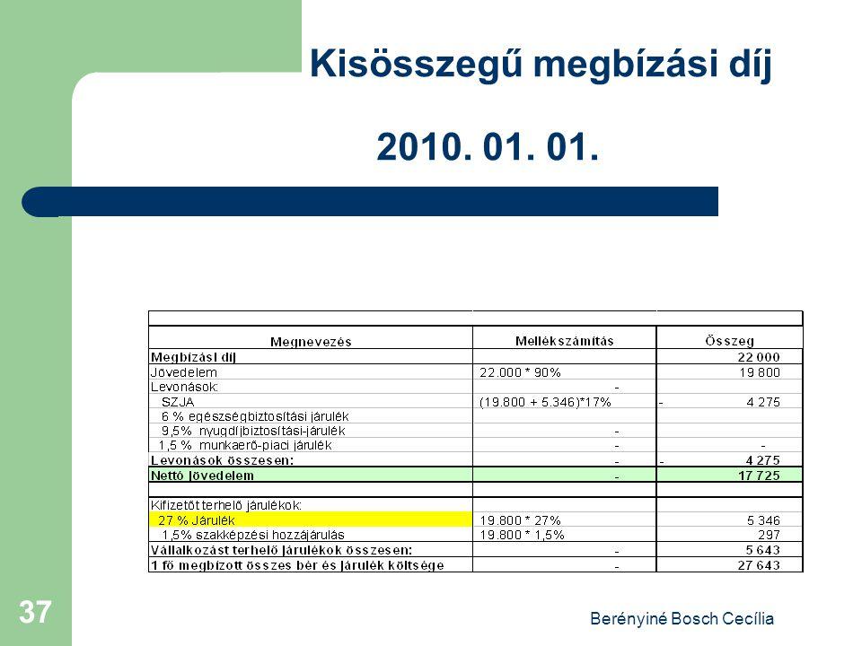Berényiné Bosch Cecília 37 Kisösszegű megbízási díj 2010. 01. 01.