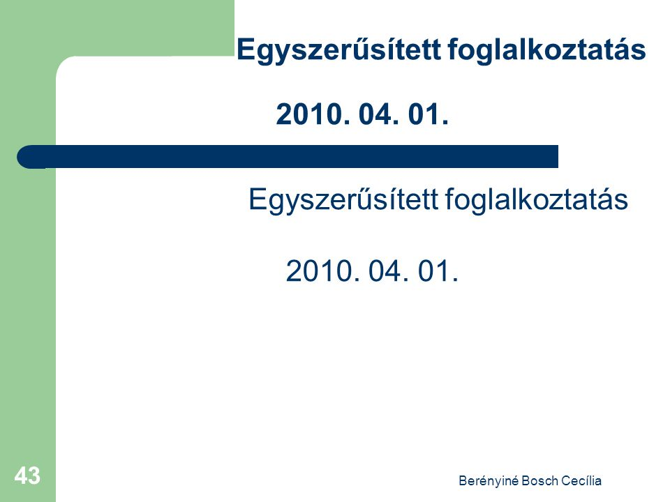 Berényiné Bosch Cecília 43 Egyszerűsített foglalkoztatás 2010. 04. 01.