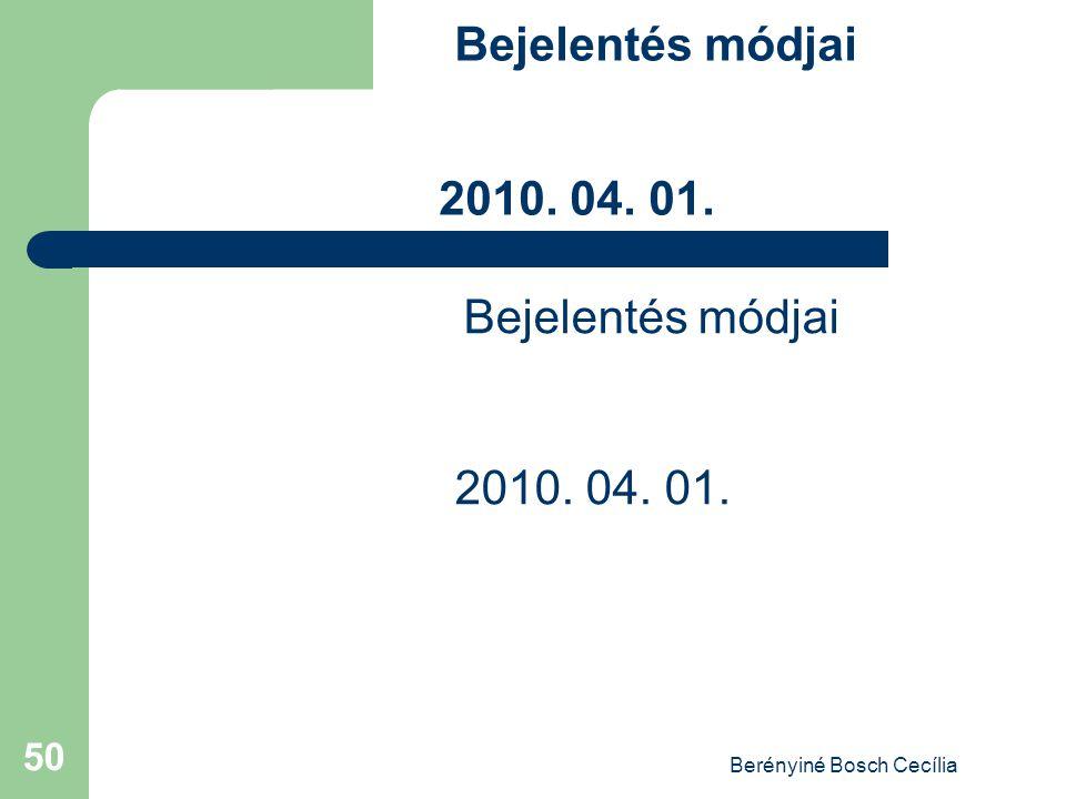 Berényiné Bosch Cecília 50 Bejelentés módjai 2010. 04. 01.
